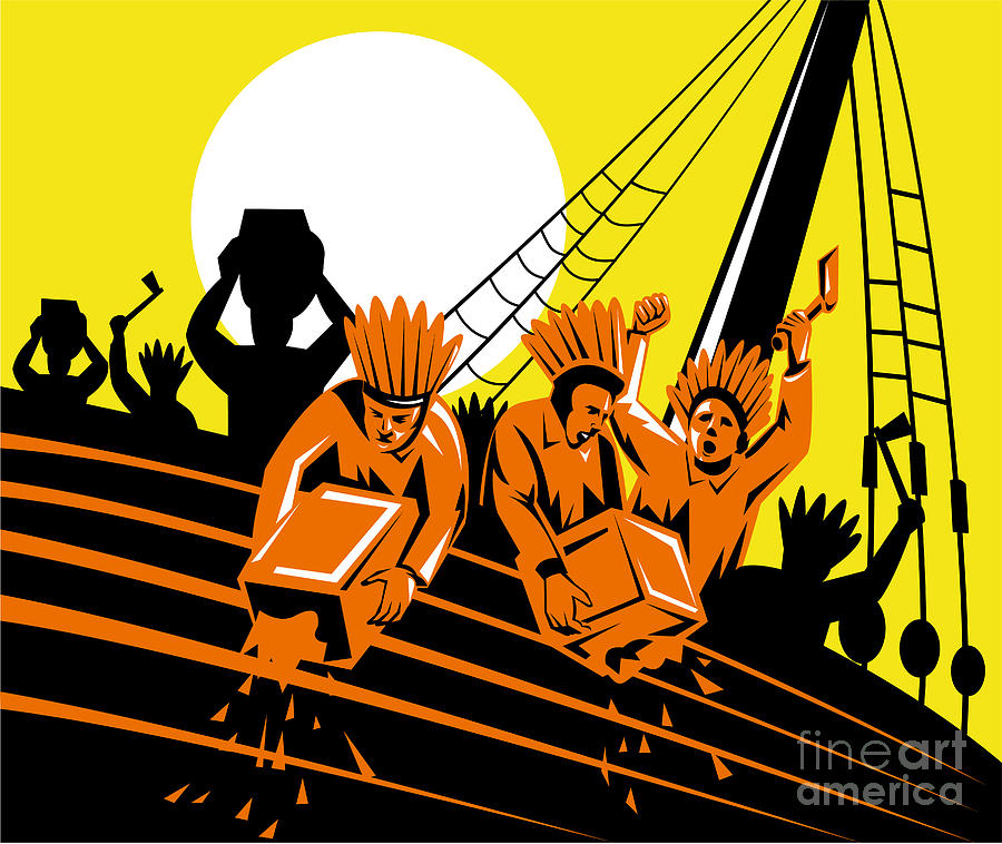 Boston Tea Party Raiders Retro Digital Art  - Boston Tea Party Raiders Retro Fine Art Print