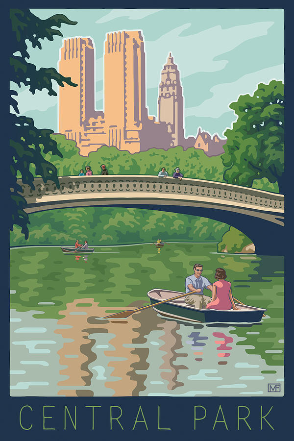 Bow Bridge In Central Park Digital Art  - Bow Bridge In Central Park Fine Art Print