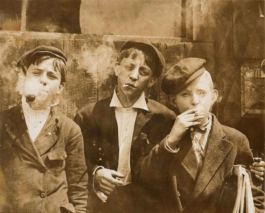 Boys Smoking, Original Caption A.m Photograph  - Boys Smoking, Original Caption A.m Fine Art Print