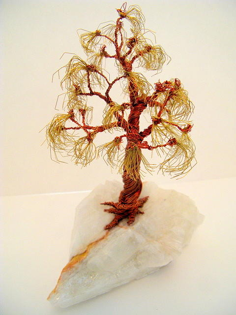 Brass-copper Tree On Crystal Sculpture