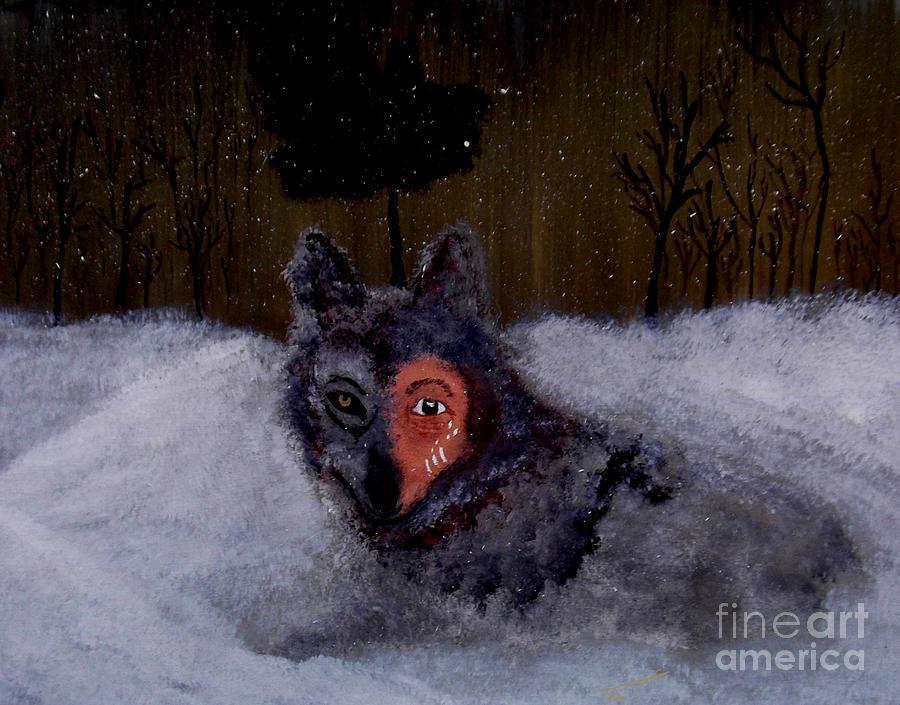 Brave Wolf Painting - Brave Wolf by Ayasha Loya Aka Pari  Dominic