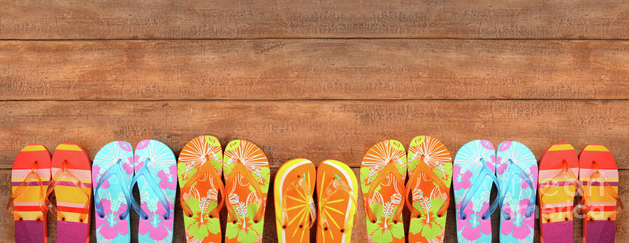 Beach Photograph - Brightly Colored Flip-flops On Wood  by Sandra Cunningham