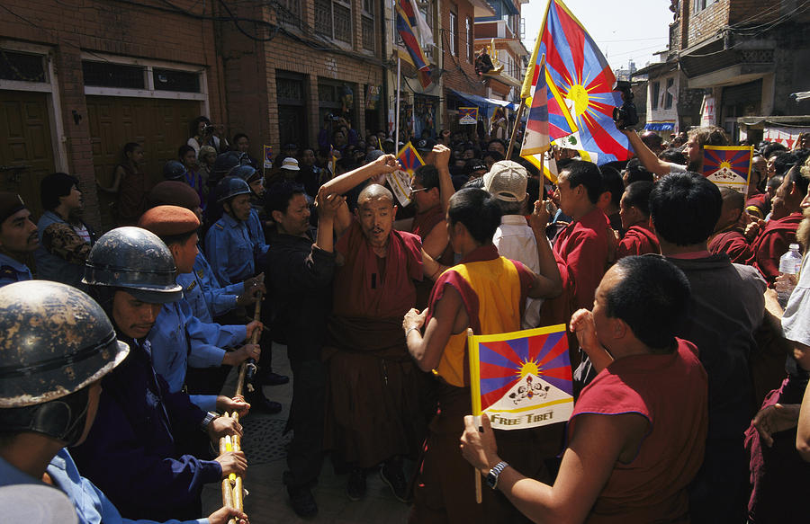 Buddhist Monks And Nuns Wage A Protest Photograph  - Buddhist Monks And Nuns Wage A Protest Fine Art Print