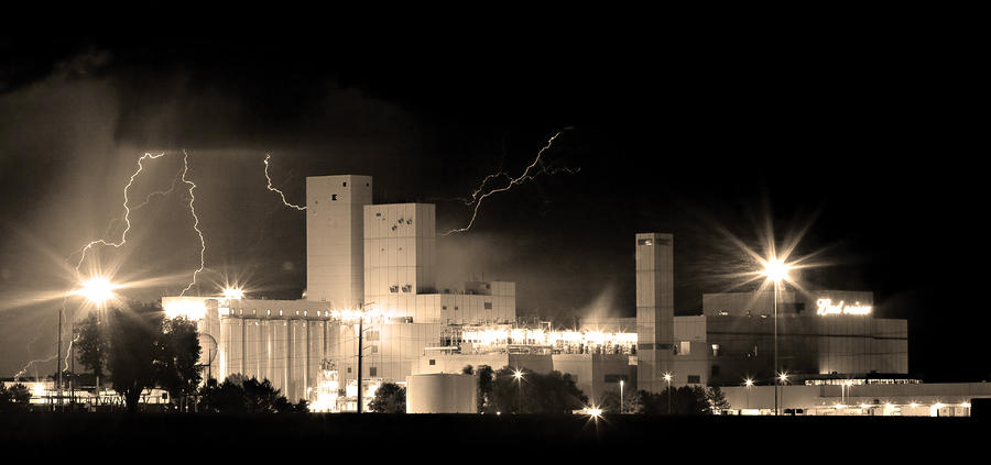 Budwesier Brewery Lightning Thunderstorm Image 3918  Bw Sepia Im Photograph