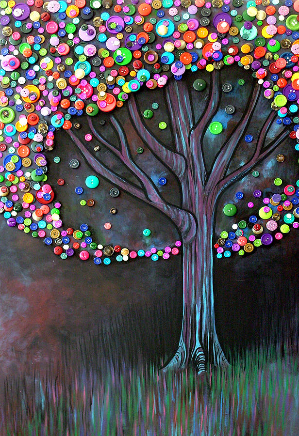 Button Tree 0006 Painting  - Button Tree 0006 Fine Art Print