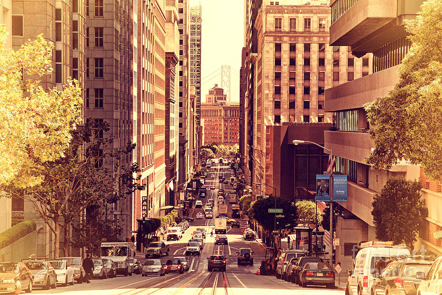 Retro Photograph - California Street In San Francisco by Wingsdomain Art and Photography