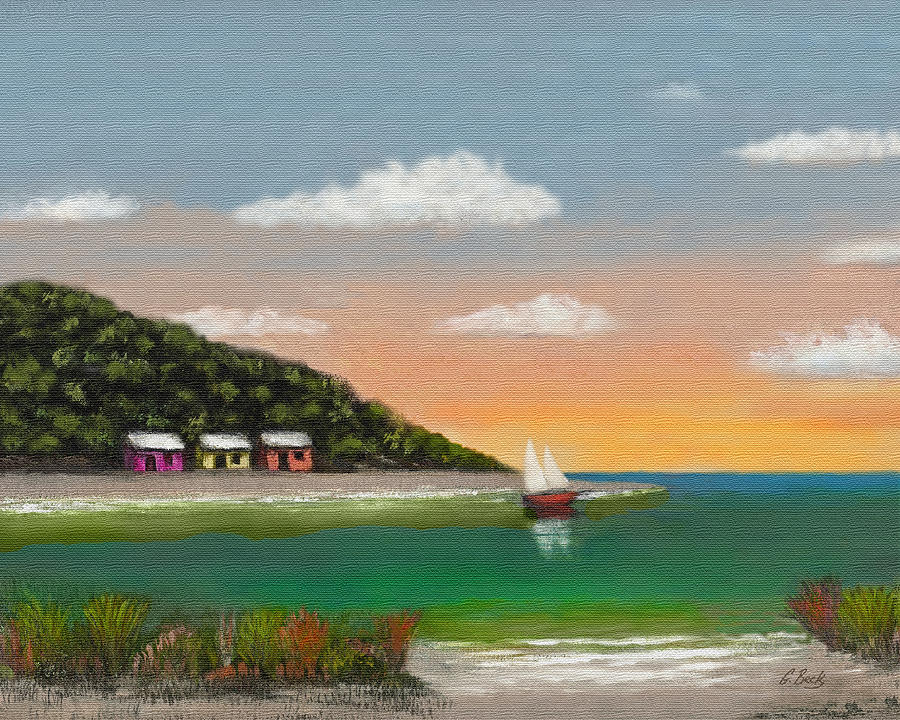 Tropical Seascape Colorful Cottages Sunset Trees Sea Ocean Vista Beach Water Sailboat Sailing Inlet Bay Coastal Beautiful Contemporary Pastel G. Painting - Canary Cove by Gordon Beck