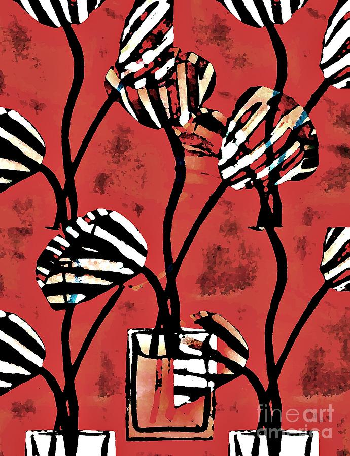 Candy Stripe Tulips 2 Digital Art  - Candy Stripe Tulips 2 Fine Art Print