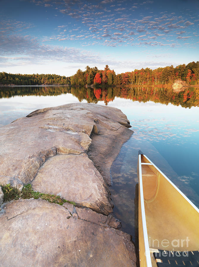 Canoe At A Rocky Shore Autumn Nature Scenery Photograph