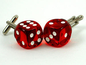 Casino Red Dice Cufflinks Jewelry