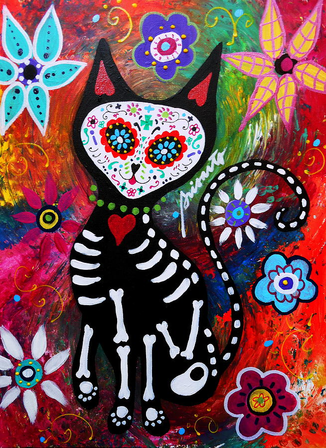 Day Of The Dead Painting - Cat Dia De Los Muertos by Pristine Cartera ...