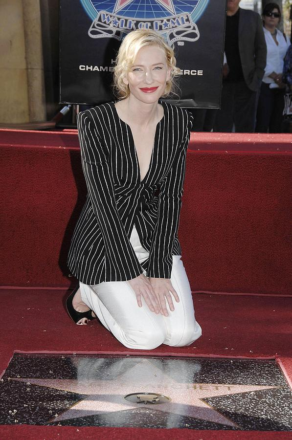 Star On The Hollywood Walk Of Fame For Cate Blanchett Photograph - Cate Blanchett Wearing Armani Prive by Everett