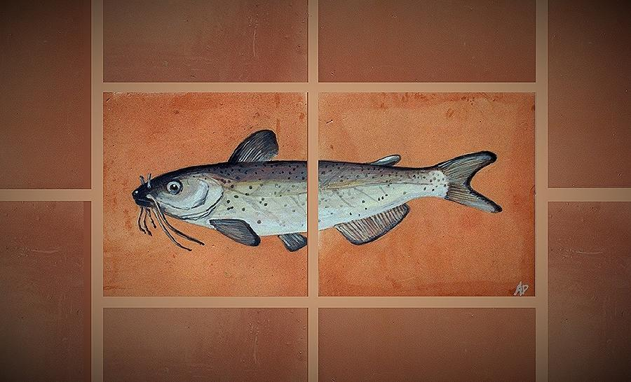 Fish On Hand Made Terracotta Tiles Painting - Catfish by Andrew Drozdowicz