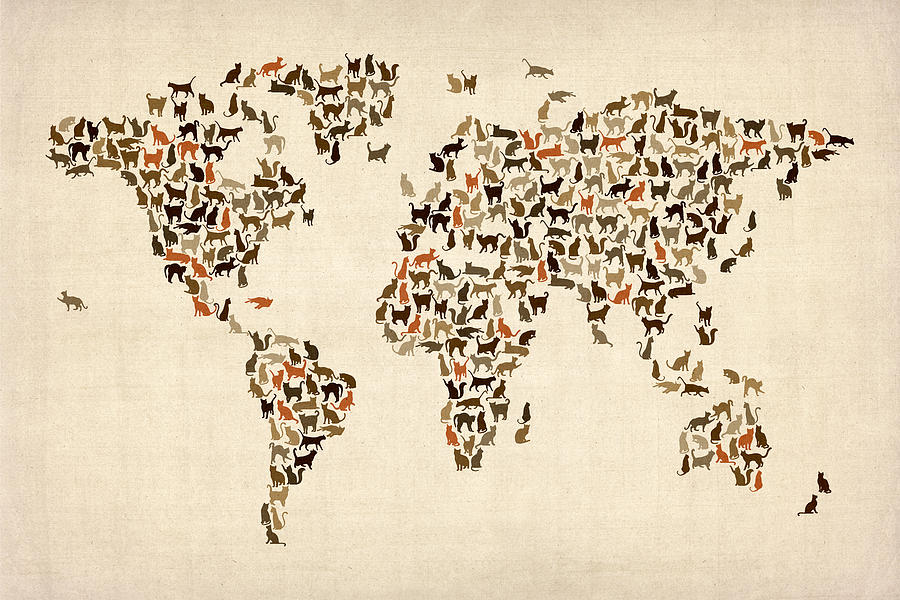 Cats Map Of The World Map Digital Art