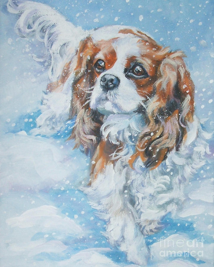 Cavalier King Charles Spaniel Blenheim In Snow Painting  - Cavalier King Charles Spaniel Blenheim In Snow Fine Art Print