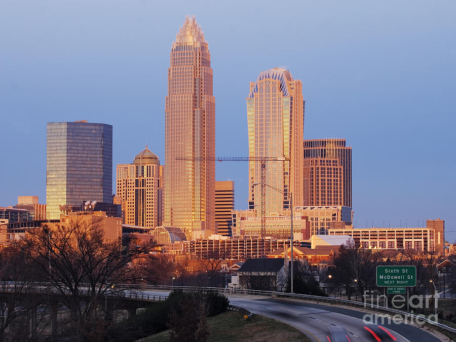 Charlotte Skyline At Sunrise Photograph  - Charlotte Skyline At Sunrise Fine Art Print