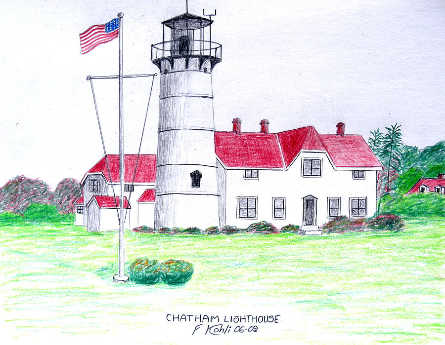 Chatham Lighthouse  Drawing  - Chatham Lighthouse  Fine Art Print