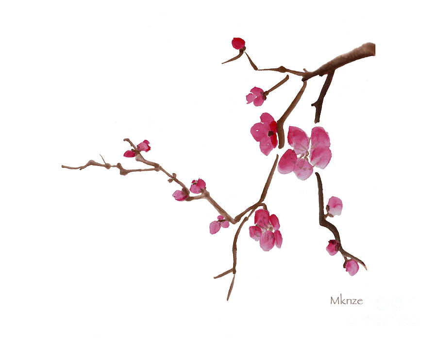 Cherry Blossoms 1d Painting  - Cherry Blossoms 1d Fine Art Print