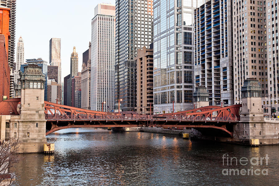 Chicago Downtown At Lasalle Street Bridge Photograph