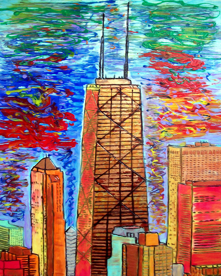 Chicago John Hancock Building Painting  - Chicago John Hancock Building Fine Art Print