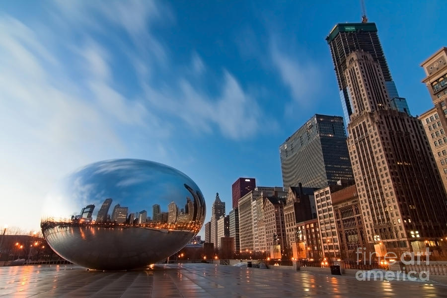 Chicago Skyline And Bean At Sunrise Photograph  - Chicago Skyline And Bean At Sunrise Fine Art Print