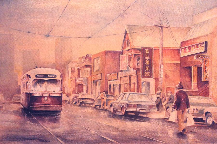 Chinatown Streetcar Toronto Painting