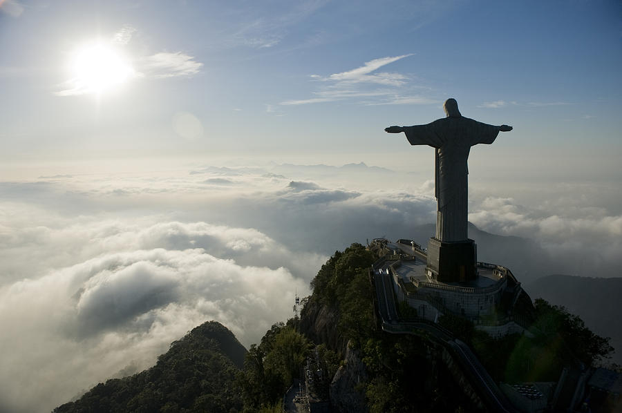 Christ The Redeemer Statue At Sunrise Photograph