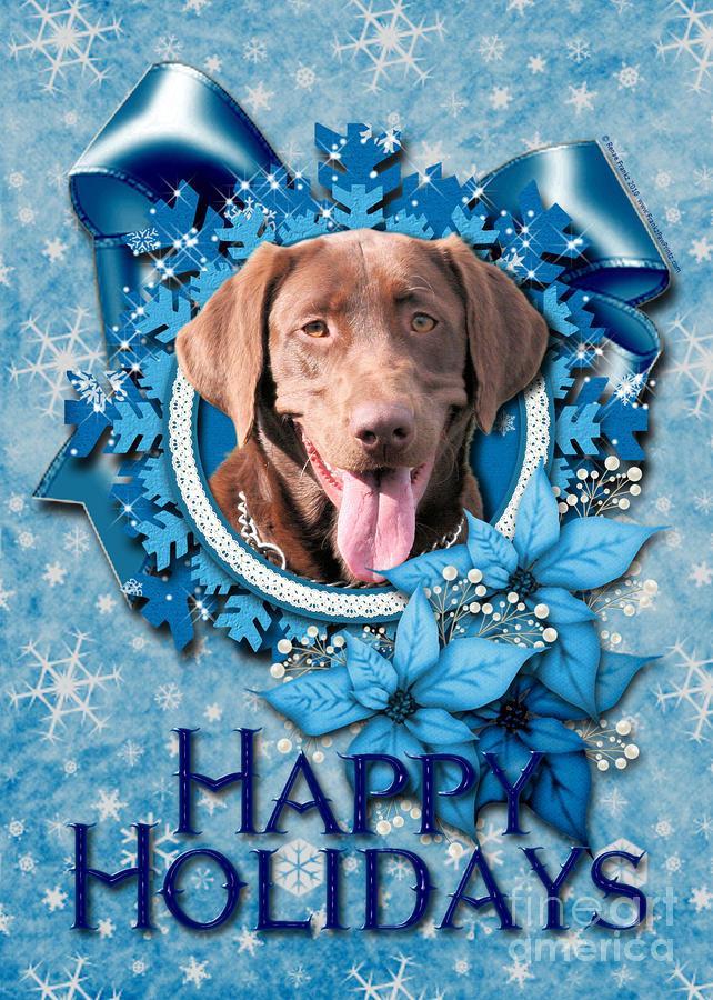 Labrador Retriever Digital Art - Christmas - Blue Snowflakes Labrador by Renae Laughner