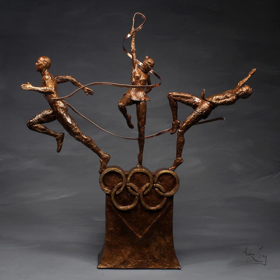 Citius Altius Fortius Olympic Art On Gray Sculpture