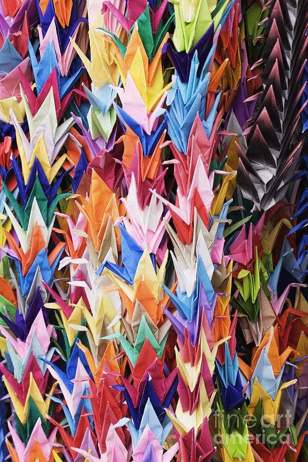 Colorful Origami Cranes Photograph