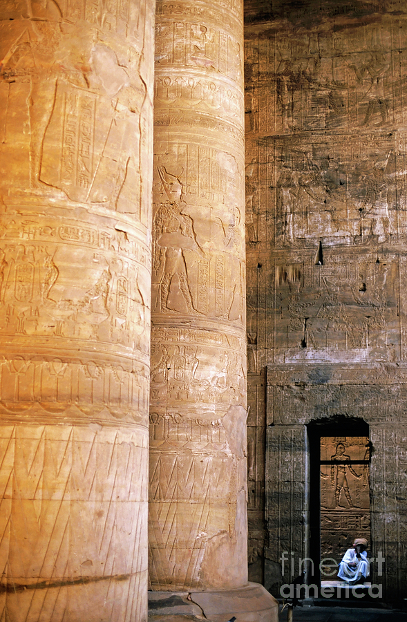 Columns With Hieroglyphs Depicted Horus At The Temple Of Edfu Photograph  - Columns With Hieroglyphs Depicted Horus At The Temple Of Edfu Fine Art Print