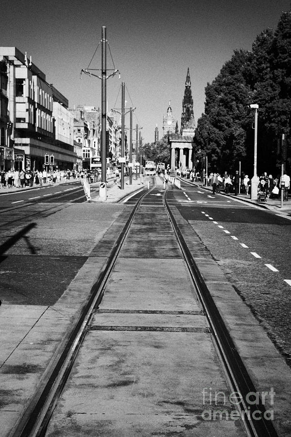 Completed Tram Rails On Princes Street Edinburgh Scotland Uk United Kingdom Photograph