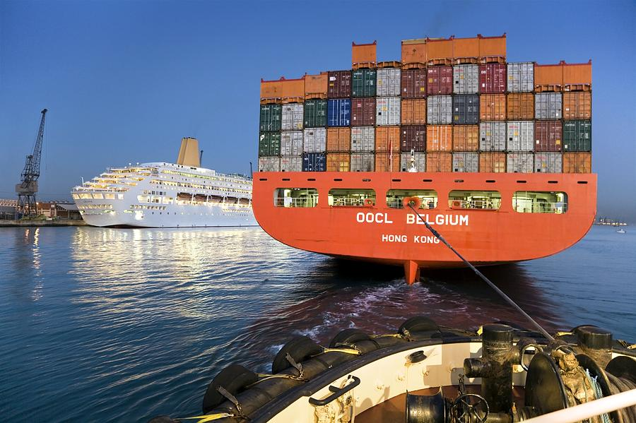 Oocl Belgium Photograph - Container Ship by Paul Rapson