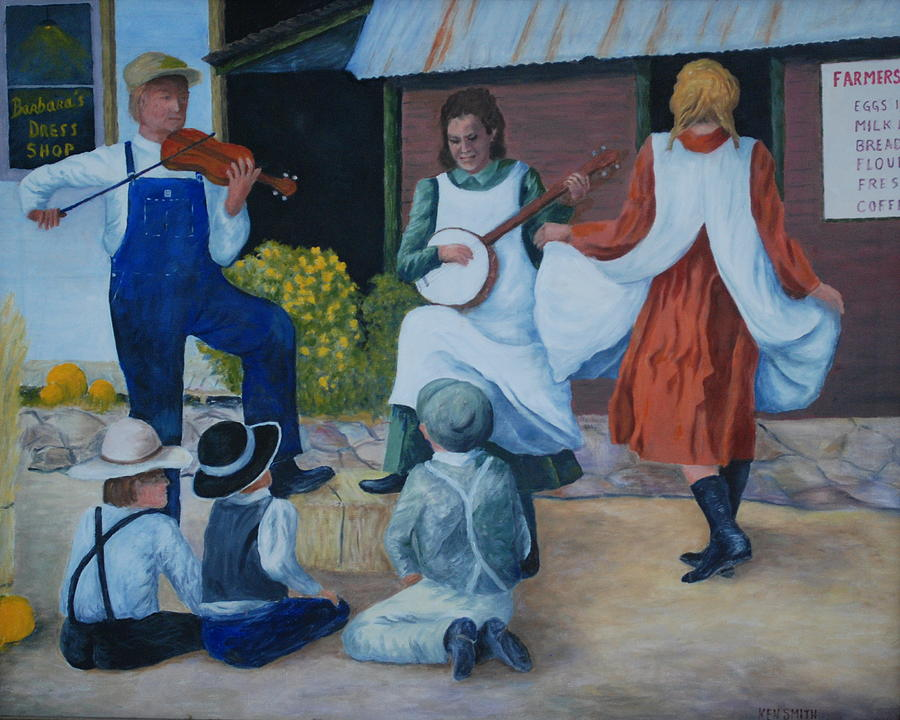 This Is An Original Oil Painting. The Young  Actors Were Part Of A Western Town In Nemo Painting - Country Music by Ken Smith