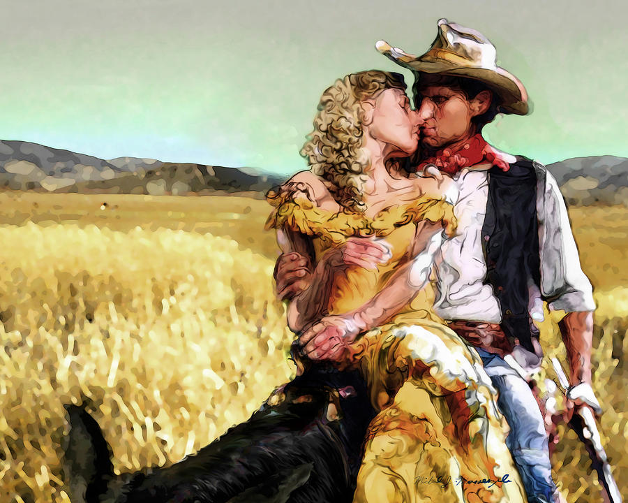 Cowboys Romance Digital Art  - Cowboys Romance Fine Art Print