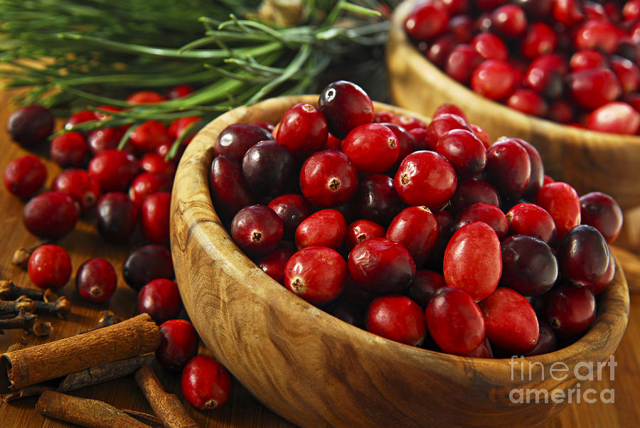 Cranberries In Bowls Photograph  - Cranberries In Bowls Fine Art Print