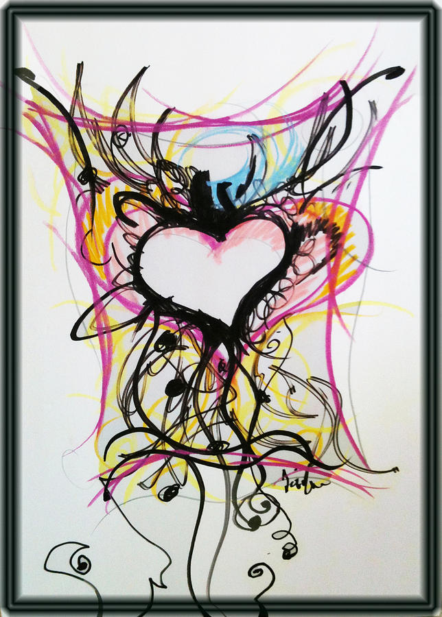 Crazy Heart Pastel  - Crazy Heart Fine Art Print