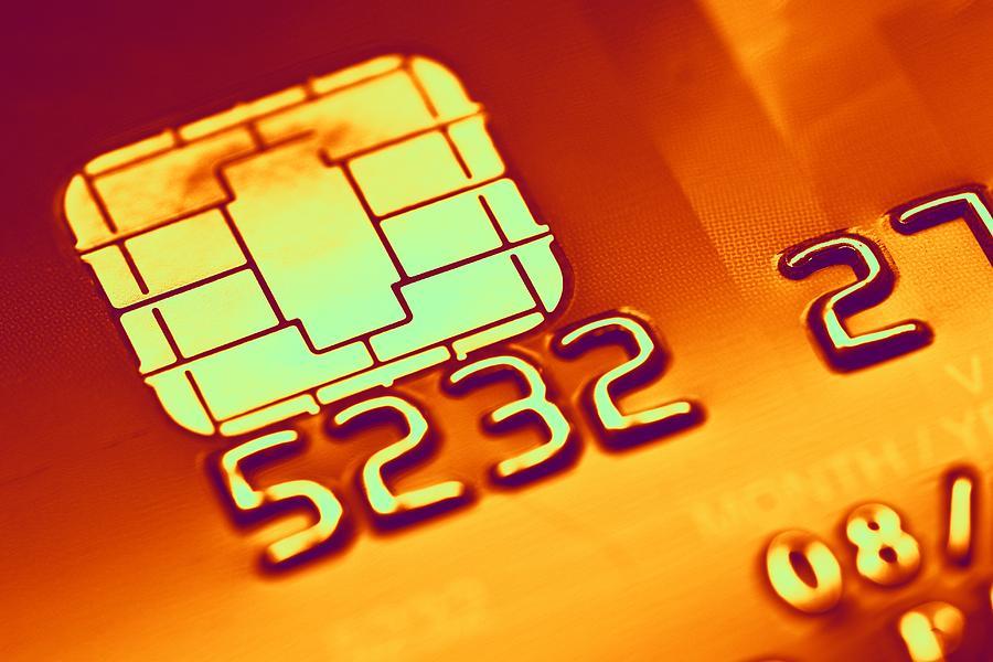 Credit Card Microchip, Computer Artwork Photograph