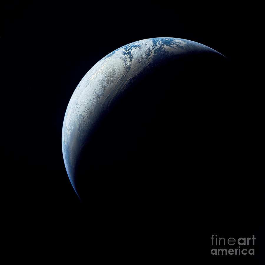 Crescent Earth Taken From The Apollo 4 Photograph