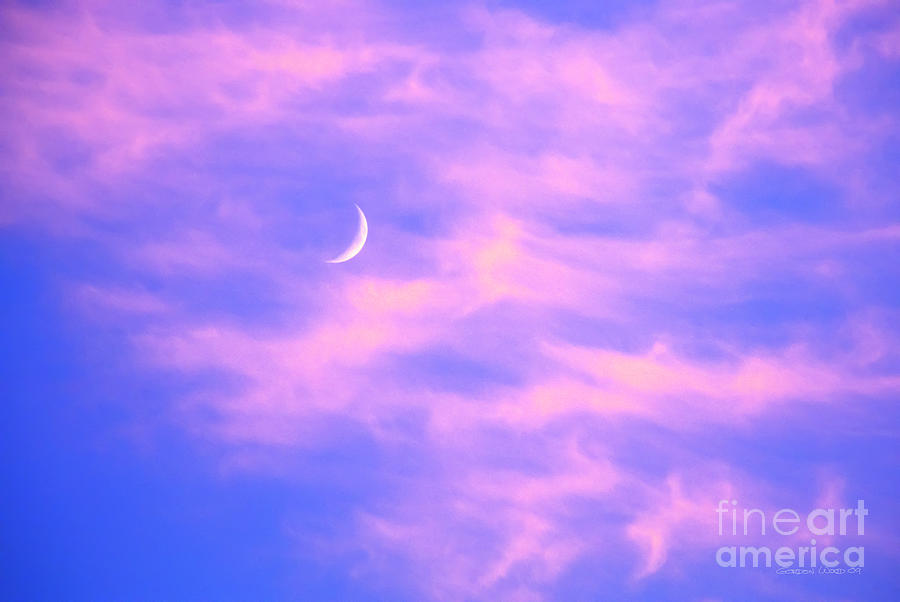 Crescent Moon Behind Cirrus Cloud In The Evening Photograph
