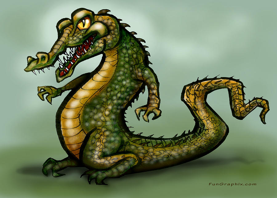 Crocodile Digital Art  - Crocodile Fine Art Print