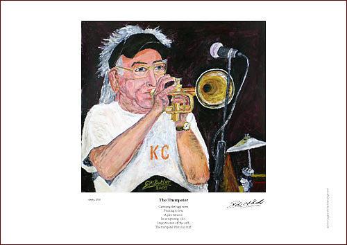 Cuff Billett On Trumpet - Giclee Print Painting