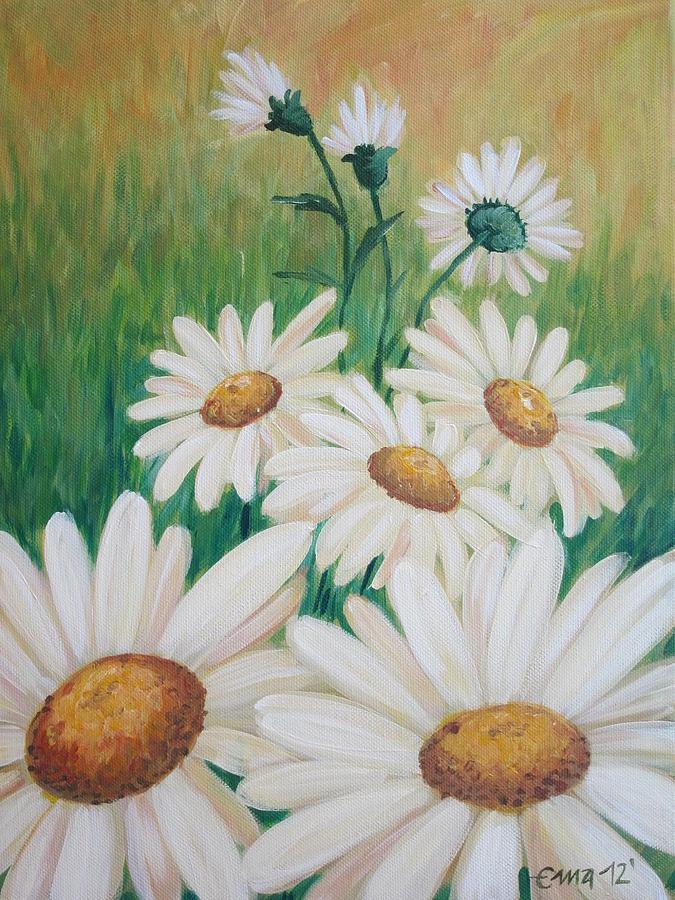 Daisies Painting - Daisies by Ema Dolinar Lovsin