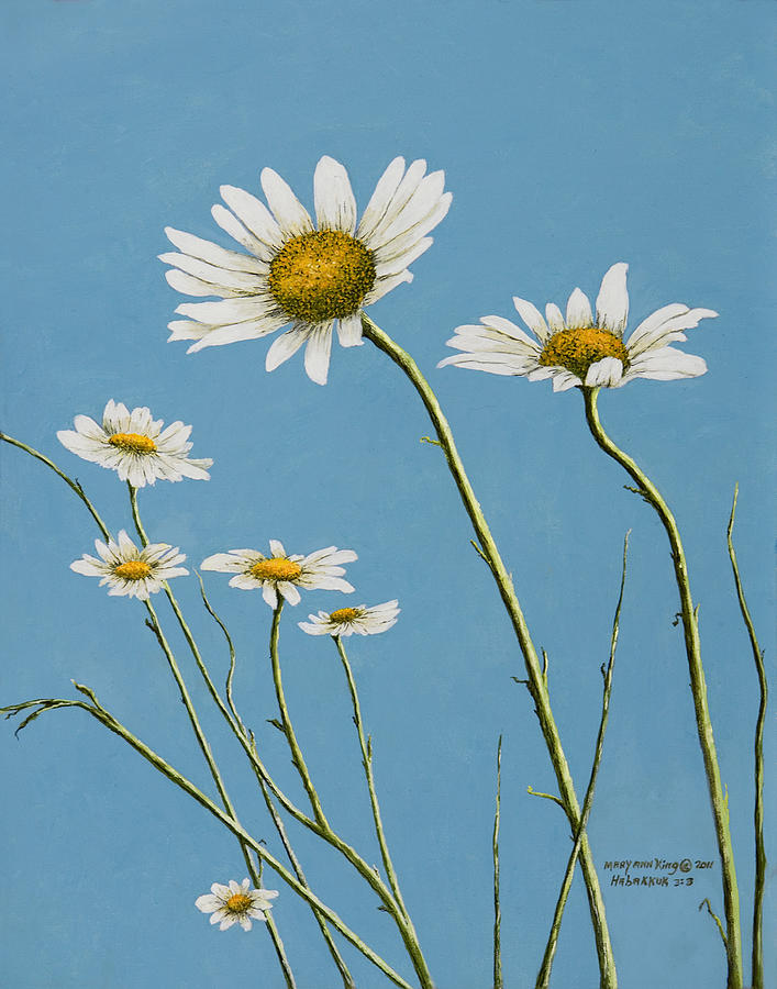 Daisies In The Wind Painting  - Daisies In The Wind Fine Art Print