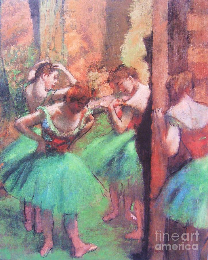 Dancers - Pink And Green Painting