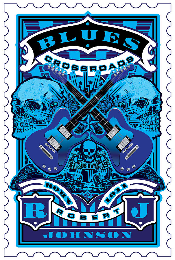 David Cook Umgx Vintage Studios Blues Crossroads Illustrated Stamp Art Poster Digital Art  - David Cook Umgx Vintage Studios Blues Crossroads Illustrated Stamp Art Poster Fine Art Print