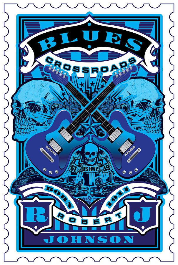 David Cook Umgx Vintage Studios Blues Crossroads Illustrated Stamp Art Poster Digital Art
