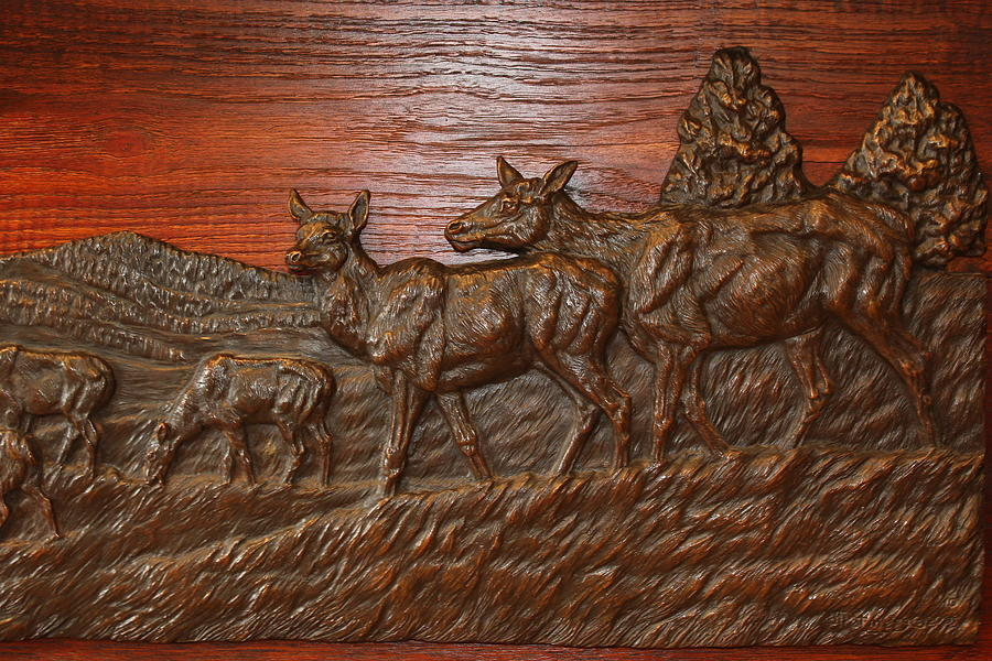 Detail Of Elk Relief Sculpture 