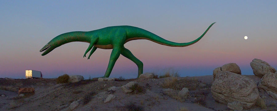 Night Scene Photograph - Dinosaur Loose On Route 66 by Mike McGlothlen