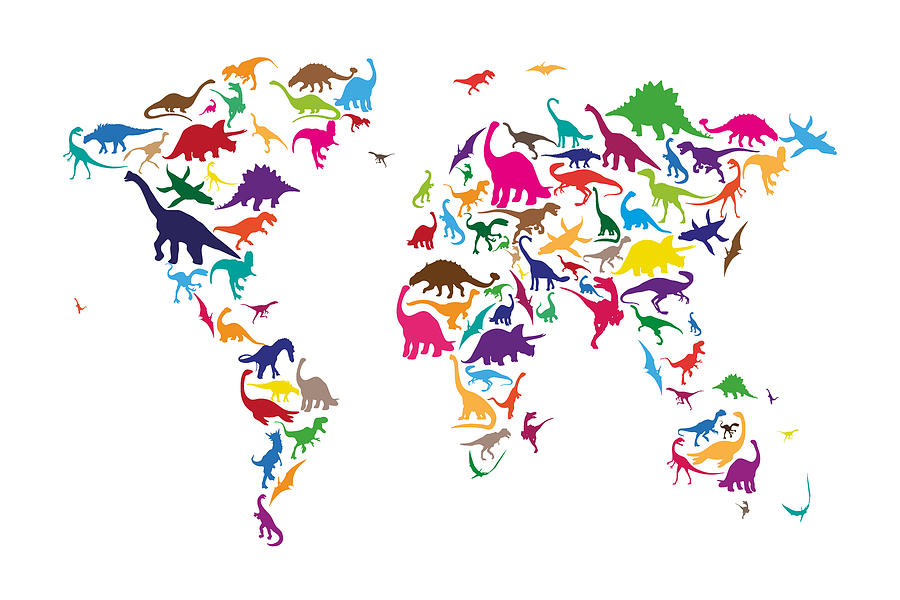 Dinosaur Map Of The World Map Digital Art  - Dinosaur Map Of The World Map Fine Art Print